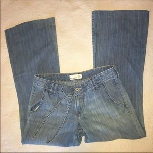 Flared front drawstring jeans size 6